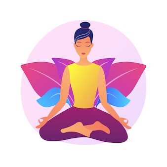 Instructeur d'école de yoga. pratique de la méditation, techniques de relaxation, exercices d'étirement du corps. yogi femelle en posture de lotus. gourou de l'équilibre spirituel.