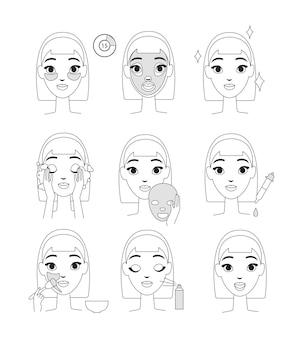 Instruction comment utiliser le masque cosmétique. jeune femme faisant des procédures de beauté, style de ligne