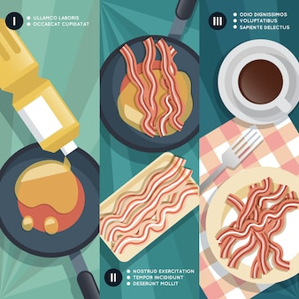 Instruction de cuisson de la friture du bacon. pan et huile, tasse à café, viande et petit déjeuner.