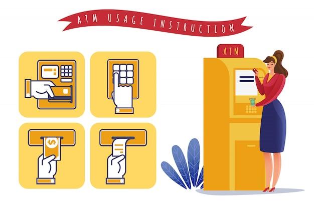 Instruction d'utilisation des paiements atm. illustration horizontale sur le thème du retrait atm par étapes