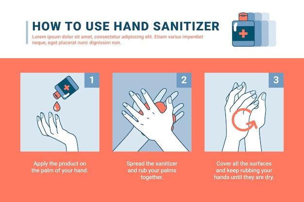Instructions de désinfectant pour les mains à plat