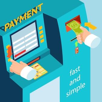 Instructions de reconstitution des fonds via le terminal bancaire. paiement en espèces au terminal atm.