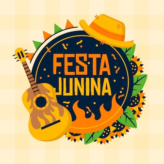 Instrument de guitare design plat festa junina