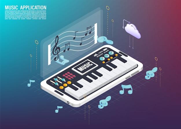 Instrument de musique sur l'application de téléphone portable 3d