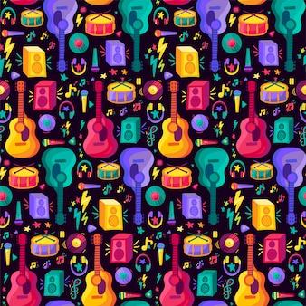Instrument de musique coloré plat modèle sans couture