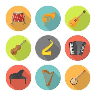 Instrument de musique situé dans des cercles colorés