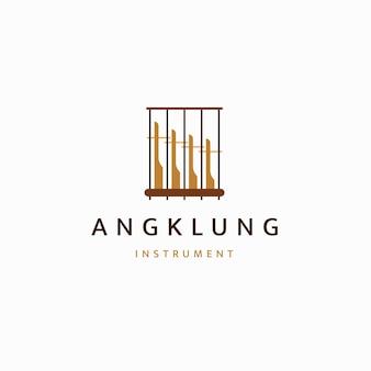 Instrument de musique traditionnel indonésien de modèle de conception d'icône de logo en bambou vecteur plat