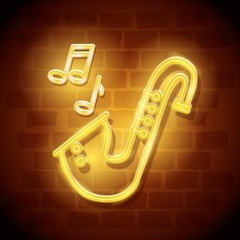 Instrument de saxophone étiquette de néon
