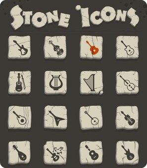Instruments à cordes sur des blocs de pierre dans les icônes web de style âge de pierre pour la conception de l'interface utilisateur