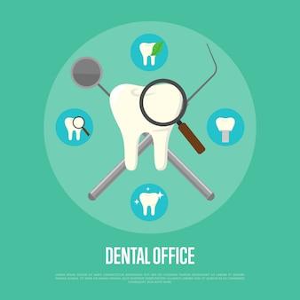 Instruments dentaires transversalement sur fond vert