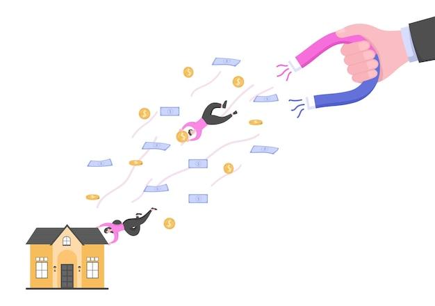 Instruments de dette de prêt hypothécaire garantis par des actifs immobiliers tels que des services immobiliers, des loyers, l'achat d'une maison ou une maison de vente aux enchères. illustration vectorielle de fond