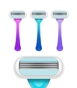 Instruments d'épilation. ensemble de rasoirs de différentes couleurs. illustration réaliste isolée sur blanc