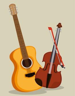 Instruments de guitare et violon