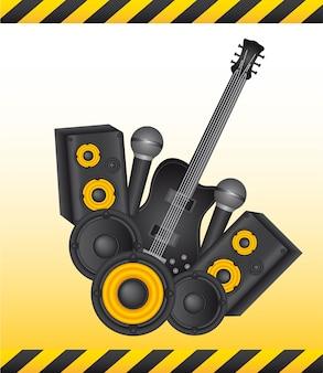 Instruments jaunes et noirs avec illustration vectorielle cadre