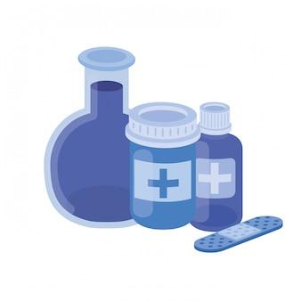 Instruments de laboratoire avec des médicaments sur blanc