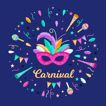 Instruments de musique et confettis carnaval plat