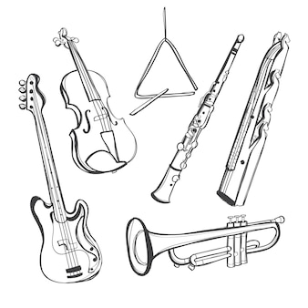 Instruments de musique dessinés à la main