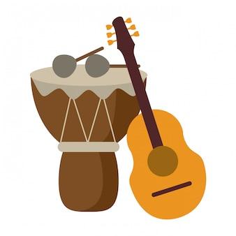 Instruments de musique guitare acoustique et batterie avec baguettes