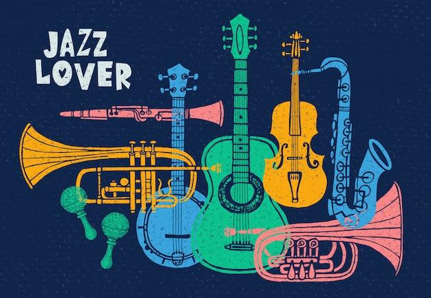 Instruments de musique, guitare, violon, violon, clarinette, banjo, trombone, trompette, saxophone, saxophone, jazz
