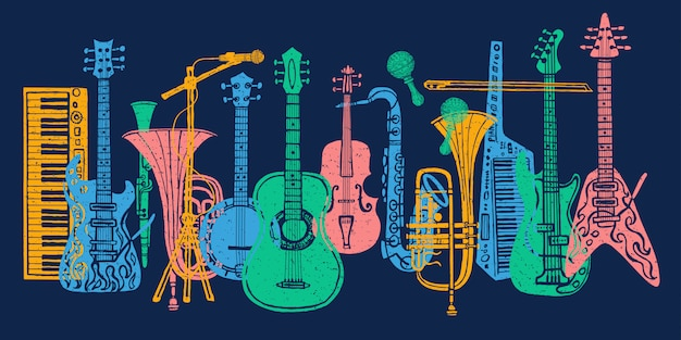 Instruments de musique, guitare, violon, violon, clarinette, banjo, trombone, trompette, saxophone
