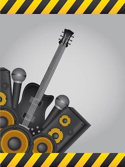 Instruments de musique jaunes et noirs avec un vecteur d'image