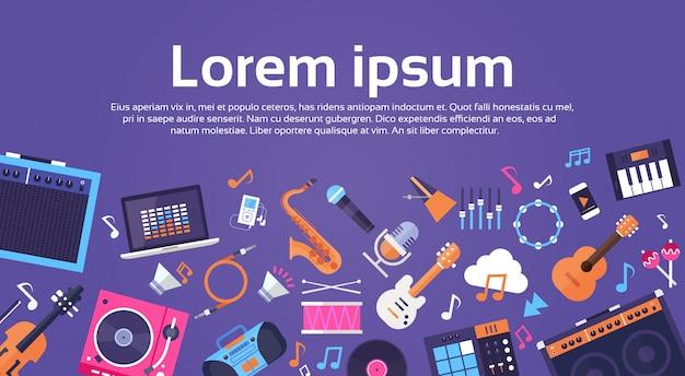 Instruments de musique et matériel électronique icônes bannière avec espace de copie