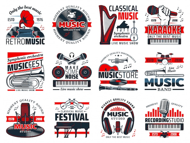 Instruments de musique, microphones de studio d'enregistrement