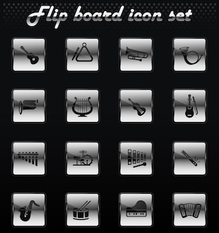 Instruments de musique vector flip icônes mécaniques pour la conception de l'interface utilisateur