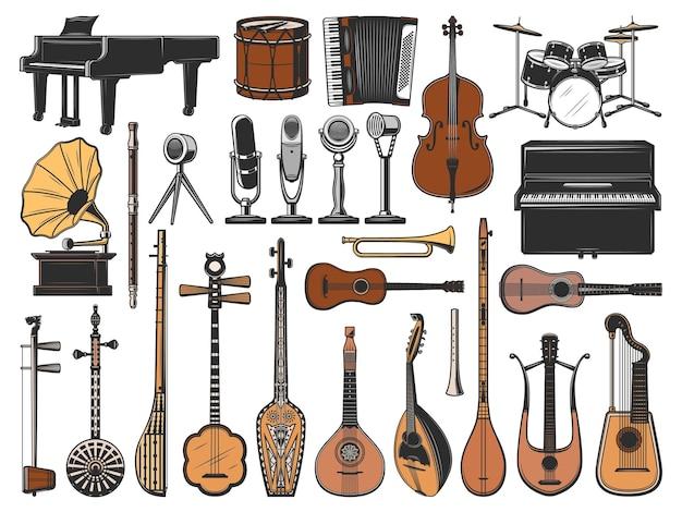 Instruments de musique vintage, microphones rétro et gramophone. icônes vectorielles isolées de piano, batterie, violoncelle et guitare, cor, mandoline, tanbur, shamisen et erhu, saz, goudron, lyre et harpe guitares