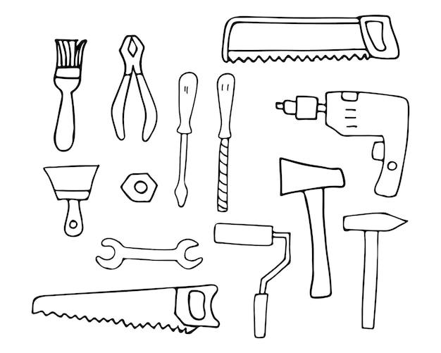 Instruments de réparation doodle icônes définies dans le vecteur. collection d'icônes d'équipements de réparation dessinés à la main.