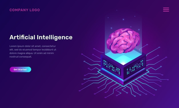 Intelligence Artificielle Ou Concept Isométrique Ai Vecteur gratuit