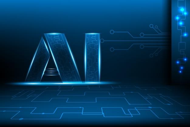Intelligence artificielle et concept de ligne de réseau.