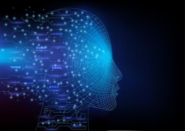 Intelligence artificielle. contour de la tête humaine avec des lignes de circuit à l'intérieur.