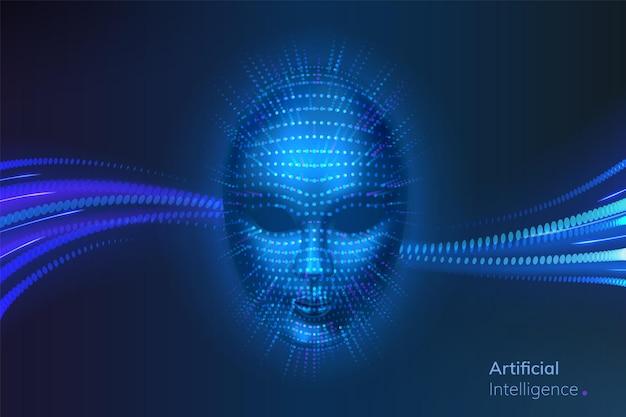 L'intelligence artificielle ou le cyber-robot font face à des connexions de réseau neuronal près de la tête bionique ou virtuelle