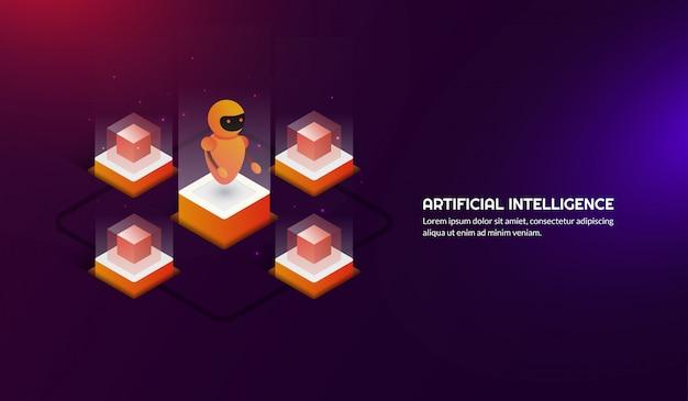 Intelligence artificielle futuriste isométrique