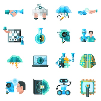 Intelligence artificielle icons set