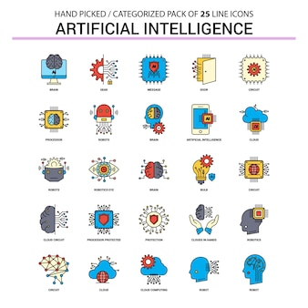 Intelligence artificielle ligne plate icon set