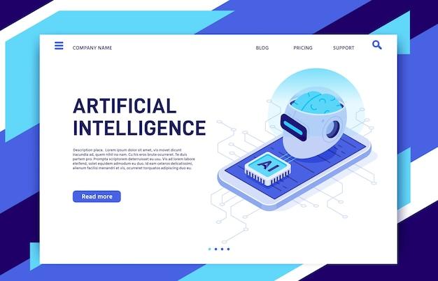 Intelligence artificielle mobile isométrique.