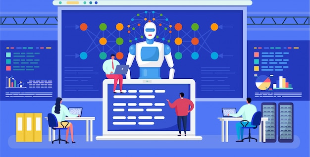 Intelligence artificielle, réseau de neurones, mise en réseau de minuscules personnages de dessin animé, fond de technologie ai futuriste