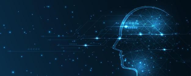Intelligence artificielle technologie fond hi-tech innovation abstrait illustration vectorielle