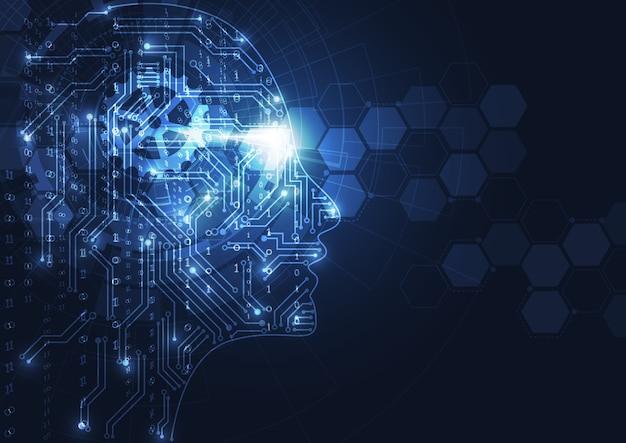 Intelligence artificielle. tête humaine géométrique abstraite