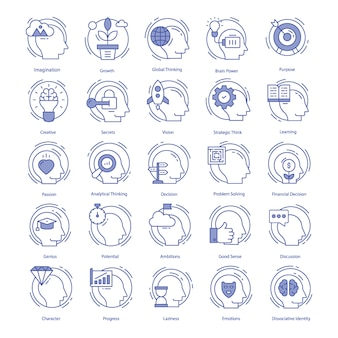 Intelligence vector icons set