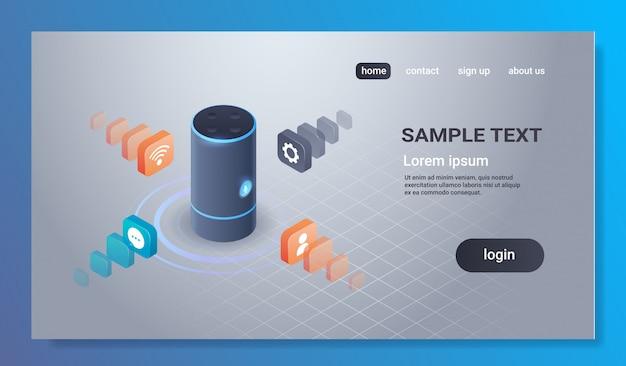 Intelligent intelligent haut-parleur reconnaissance vocale activé assistants numériques automatisé commande rapport concept 3d isométrique