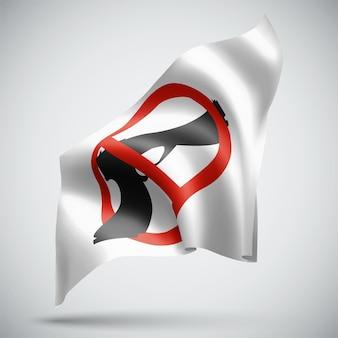 Interdiction des armes, drapeau 3d vecteur isolé sur fond blanc