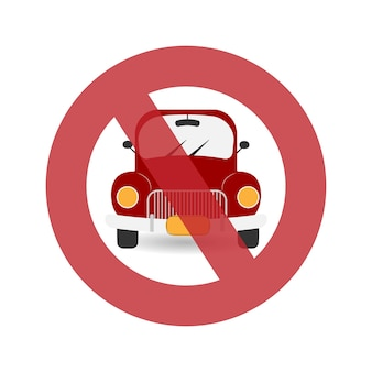 Interdiction des voitures voiture rétro rouge camionnette rouge avec phares style plat
