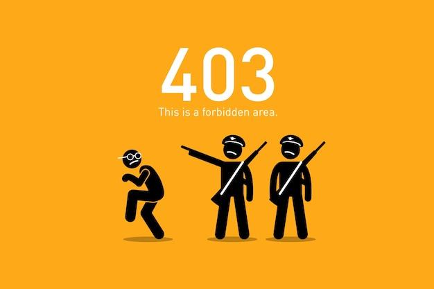 Interdit. l'illustration représente un scénario drôle et humoristique avec un chiffre de bâton humain pour l'erreur de demande de site web http.