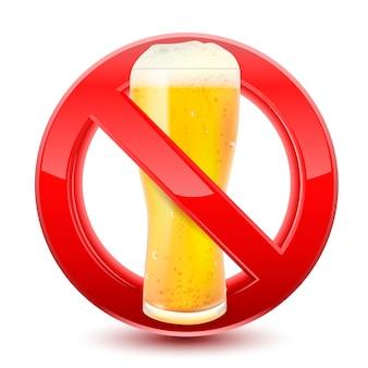 Interdit pas de signe de bière rouge