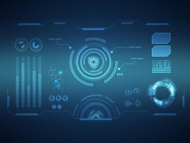 Interface d'affichage hud futuriste abstraite science-fiction technologie fond illustration vectorielle