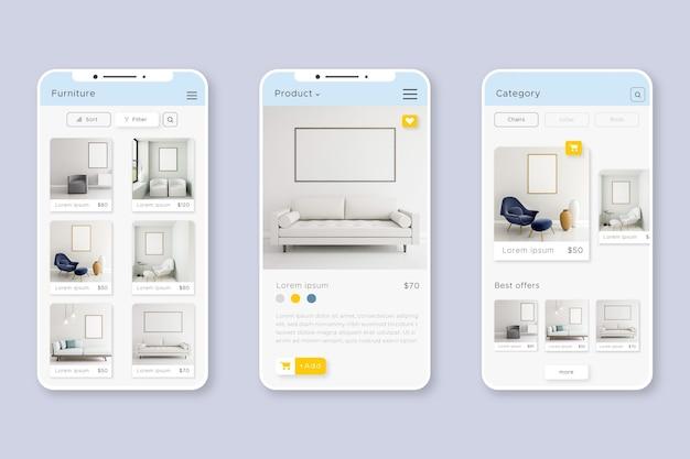 Interface de l'application d'achat de meubles