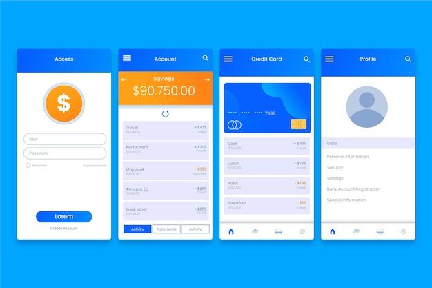 Interface d'application bancaire